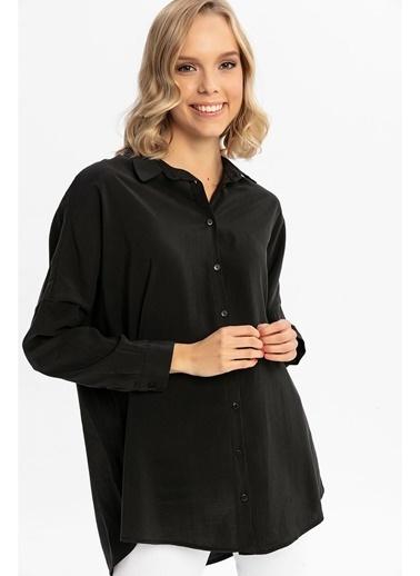 Tiffany&Tomato Omuzları Düşük Uzun Kollu Gömlek-Siyah Siyah